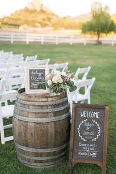 20 Rustic Country Farm Wine Barrel Wedding Ideas - outdoor country wedding ceremony ideas with wine barrles Wedding Ceremony Ideas, Outdoor Wedding Decorations, Wedding Signs, Wedding Events, Outdoor Weddings, Wedding Themes, Wedding Reception, Wedding Table, Wedding Ideas For Spring