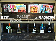 simphome magazine holder Wood Pallet Wine Rack, Wood Wine Racks, Wood Pallets, Pallet Wood, Diy Magazine Holder, Magazine Rack, Wine Magazine, American Flag Pallet, Pallet Flag