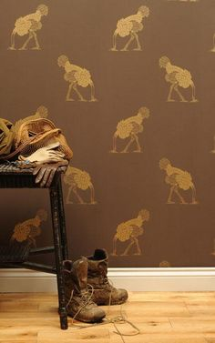 Ostrich with head in sand. . . Large Gold Leaf on Brownstone - Childrens