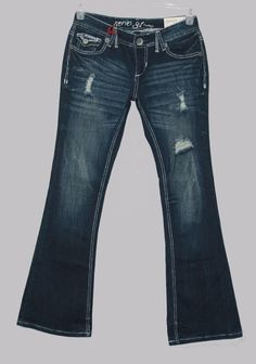 Amethyst Series 31 Fit Flare Short & Sweet Dark Distressed Jeans Size 5 New Juniors Fashion