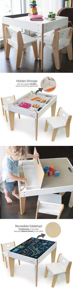 P'kolino Little Modern Children's Table with reversible top and built in storage compartment. This toddler table has reversible chalk table top (to quickly hide any mess) and two ergonomic child chai (Table Top Design)