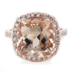 Morganite Center Ring Rose Gold with Diamond Halo Setting - Ring Name: Majestic on Etsy, $1,850.00