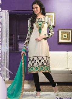 Beautiful Beige With Black Embroidery Work Casual Churidar Suit