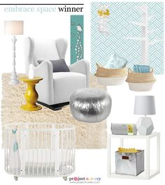 Project Nursery - Aqua and Yellow Gender Neutral Nursery Design Board