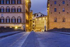 The Santa Trinita Bridge in Florence at sunrise.Italy - The Santa Trinita Bridge in Florence at sunrise.Italy