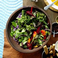 BHG's Newest Recipes:Roasted Beets and Greens with Spicy Orange Vinaigrette Recipe