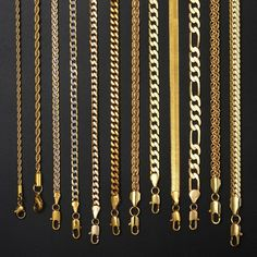 Necklace For Women Men Gold Filled Figaro Rope Snake Cuban Link Chain Mens Womens Fashion Jewelry Hip Hop Gold Necklace For Men, Mens Gold Jewelry, Men Necklace, Gold Necklaces, Necklace Chain, Male Jewelry, Men's Fashion Jewelry, Gold Chain Design, Gold Chains For Men