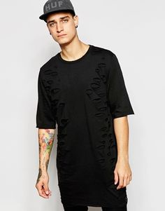 Longline T-shirt by ASOS Soft-touch, cotton jersey Crew neck Slash effect to front Longline cut Cut longer than standard length Machine wash Cotton Our model wears a size Medium and is tall T Shirt Long, Long Hoodie, Latest Mens Fashion, Men's Fashion, Models, Sleeveless Shirt, Long A Line, Mannequin, Shirt Style