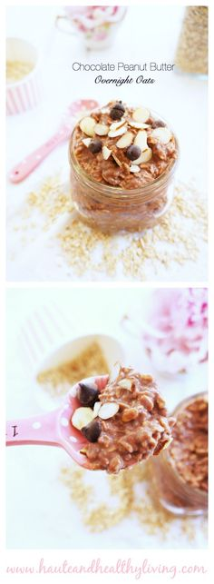 Chocolate PB Overnight Oats - dairy-free & vegan recipe for the @sodelicious recipe contest!
