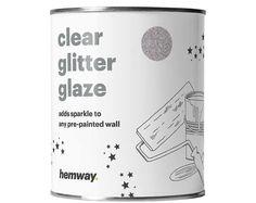 Hemway 1L Clear Glitter Paint Glaze for Pre-Painted Walls