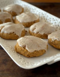 These are my new favorite!!  So yummy and so simple.  They are so soft-but the spices in the cookie and frosting are perfect.  Gluten-Free Soft Pumpkin Cookies with Spiced Glaze. GF DF EF