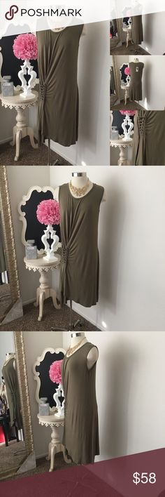 🌺 Mur Mur Brand  Olive Dress w/ Side Tie Design- 🌺 Mur Mur Brand  Olive Dress Jersey Dress w/ Side Tie Design- Sleeveless - U Neckline - Super Soft Fabric - Dress Is Not Lined  $68 - New w/ Tags  (Reg: $98)  Size: Large ( Will also fit a Medium ) Fabric : 95% Rayon - 5% Spandex 🌺 Accessories Not Included But Are also for Sale  Please Check out my Other Items in my GIRLe B Posh Shoppe'  Like us on FB   www.facebook.com/girleboutique Thanks For Looking & Always Let your Clothes get All the…