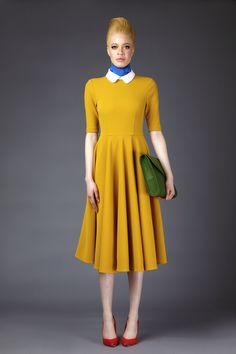 Fall 2015 Ready-to-Wear Mimi Plange Yellow Dress Accessories, Couture Fashion, Fashion Show, Kids Fashion, Contrast Collar Shirt, Collared Shirt Dress, Ribbed Knit Dress, Rib Knit, Full Circle Skirts