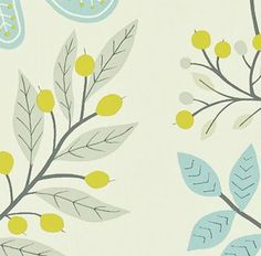 harlequin organic pattern, leaves & branches in blue, grey and green