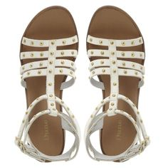 WHITE Heeled Studded Gladiator Sandal and other apparel, accessories and trends. Browse and shop 21 related looks.