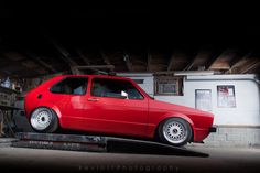 red VW Golf Mk1with white BBS