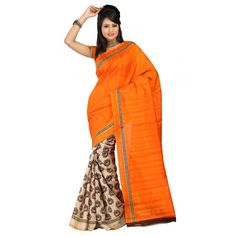 Party Wear Bhagalpuri Orange Saree - 80159