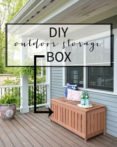 FREE plans for making a DIY outdoor storage box for outdoor cushions! Plus, it doubles as an outdoor bench seat and serving surface - DIY Craft Ideas Storage Bench Seating, Outdoor Storage, Diy Storage, Wood Storage, Storage Boxes, Kitchen Storage, Storage Ideas, Diy Bank, Adirondack Furniture