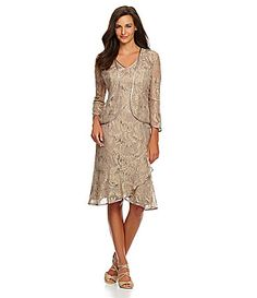 KM Collections Sequin-Lace Jacket Dress