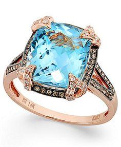 Bleu Rosé by EFFY 14k Rose Gold Blue Topaz (6-3/8 ct. t.w.) and Brown Diamond (1/3 ct. t.w.) Cushion-Cut Ring