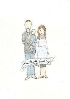 Family Portrait Illustration, Custom Portrait Watercolour