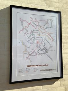 Cosmopolitan Metro Map - 2014. Designed in Denmark by Fred Saletta for farvestuff - Poster with copper hot stamping foil. Size 50 x 70 cm. Available through cocorico.dk