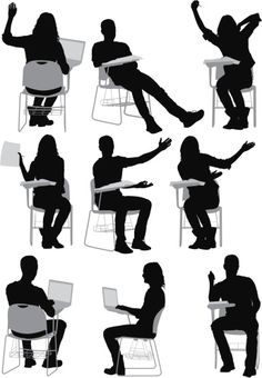 Multiple images of students sitting on writing. Human Dimension, Human Sketch, Cut Out People, Human Poses, Architecture People, Sketches Of People, People Illustration, Body Reference, Silhouette Vector