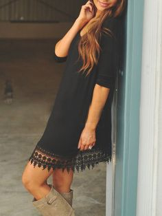 Black Round Neck Lace Hem Loose Dress -SheIn(Sheinside) Mobile Site