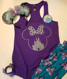 "Thank you for stopping by my shop! I am excited to have you here! Disney Addicts this top is for you!! My ""Glitter Minnie Castle"" is perfect for your Disney vacation! ***This listing is for the tank t"