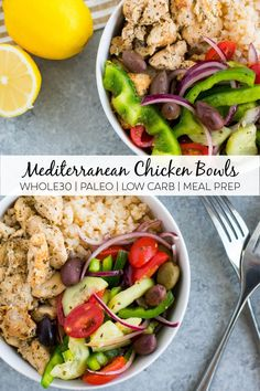 This delicious greek meal prep bowl is compliant paleo and Keto friendly! It's a super easy and healthy make ahead lunch that has tons of flavor! Paleo Chicken Recipes, Lunch Recipes, Paleo Recipes, Real Food Recipes, Dinner Recipes, Smoothie Recipes, Greek Recipes, Whole 30 Recipes, Low Carb Blog