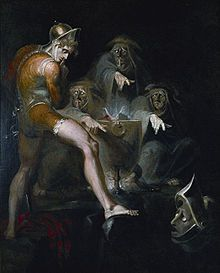 """When the hurlyburly's done, When the battle's lost and won.""  The witches, belittle Macbeth's achievements by calling them Hurlyburly, setting him up for the ambitions that later seize him."