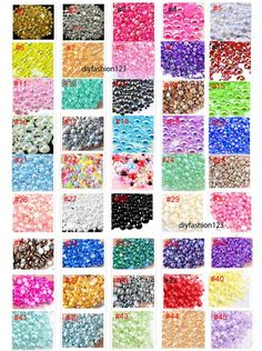 45 colors - Mixed Sizes flatback resin 600 pieces AB Pearl Cabochons or 800 Pieces Pearl Cabochons ( please choose your color )