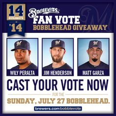 The candidates for the #Brewers Fan Vote Bobblehead have been announced! Vote early, vote often and vote for your favorite now through Friday, February 7! Click for details! #Brewers14in14