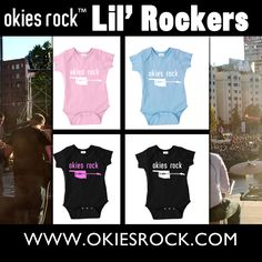 COMING VERY SOON to OkiesRock.com is our new kids line, Lil' Rockers, but we need you to help us by letting us know which one you want to see the most! Let's hear what ya want Pinterest! Okie Kids definitely ROCK! (Oklahoma, Apparel, Infant Apparel, Onesies, Rock and Roll, Babies, Baby Wear, Sooners, Cowboys, Thunder)