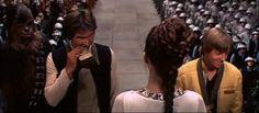Harrison Ford acting goofy on the Yavin ceremony set.