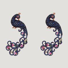 Vermeil Peacock Earrings With Iolite, Ruby and Green Garnet  £698 (80778)