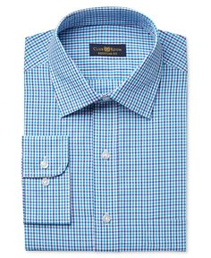 Club Room Estate Men's Classic-Fit Wrinkle Resistant Aqua Gingham Dress Shirt, Only at Macy's
