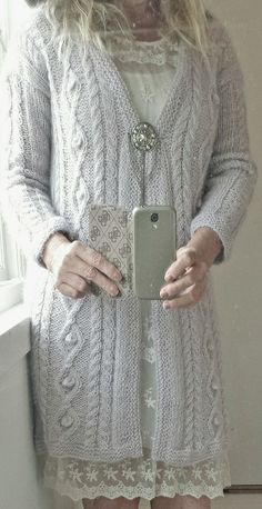 Hand knit cable knit cardigan by Annelise Bjerkely