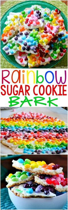 Rainbow Sugar Cookie Bark made with refrigerated sugar cookie dough and candy - get ready to taste the rainbow! This easy dessert is always a hit with kids and is perfect for St. Patrick's Day and other parties!