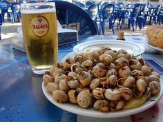 "Caracois- - typical titbit portuguese, like 'escargot' (but smaller) in France ""Strange"" that I've Grown to Love (And Think You Should Try Too) Light Recipes, Wine Recipes, Cooking Recipes, Tapas, Snails Recipe, Portuguese Recipes, Portuguese Food, Algarve, Food Cravings"