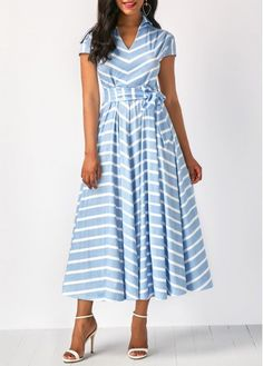 Stripe Print Belted Cap Sleeve Belted Dress, M, Stripe Print Belted Cap Sleeve Belted Dress, , Price: Tight Dresses, Sexy Dresses, Blue Dresses, Casual Dresses, Dresses With Sleeves, Short Sleeve Dresses, Prom Dresses, Fashion Moda, Look Fashion