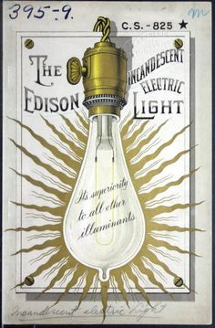 Cover of a pamphlet describing the Edison incandescent electric light, 1887