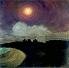 "last-picture-show: "" Gustaw Gwozdecki ( 1880 - Moon, 1908 "" Art And Illustration, Nocturne, Landscape Art, Landscape Paintings, Art Paintings, Night Pictures, Inspiration Art, Painting Gallery, Art Moderne"
