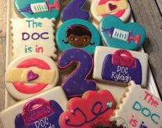 Doc McStuffins cookies 1 dozen by CSSweetBoutique on Etsy Doc Mcstuffins Cookies, Doc Mcstuffins Birthday Cake, 4th Birthday Parties, Girl Birthday, Disney Cookies, Cookie Decorating, First Birthdays, Custom Cookies, Etsy