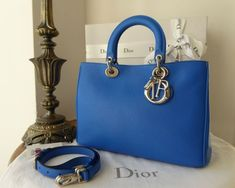 f039335b591 Dior Diorissimo Medium Tote and Zip Pouch in Blue Lazulis Taurillon - SOLD