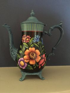 Silver Teapot with Large Flowers by Georgannself on Etsy