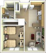 University Park Apartments 2 person, 1 bedroom, 1 bathroom apartment floor plan