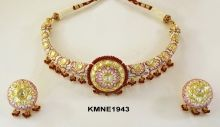 Pink Meena Hasli Necklace with Earrings