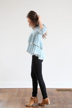 The Twirl Peplum in Powder Blue