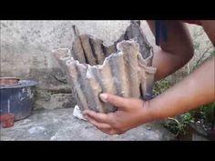Vaso de cimento em formato de saquinho - YouTube